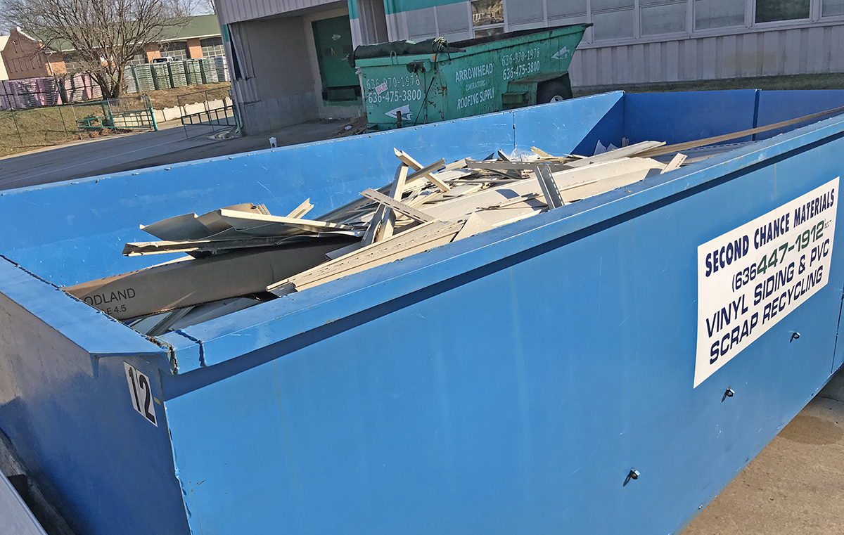 Arrowhead provides a vinyl siding recyling bin for their contractors so they can prevent old siding from going into the landfill